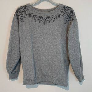 XS American Eagle Floral Embroidered Sweatshirt